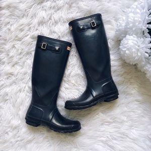 Hunter Black Tall Gloss Rain Boots